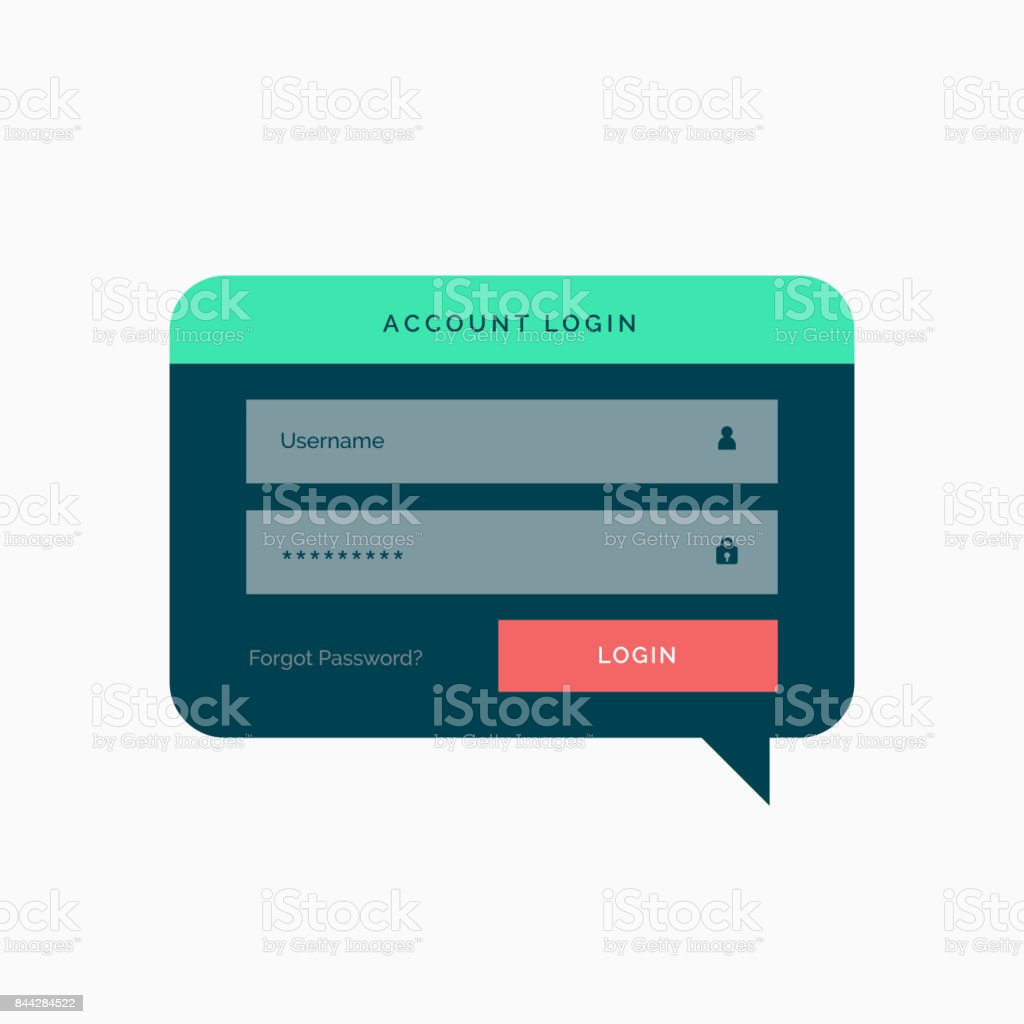 Login Template Design In Chat Bubble Style With Flat Colors Stock