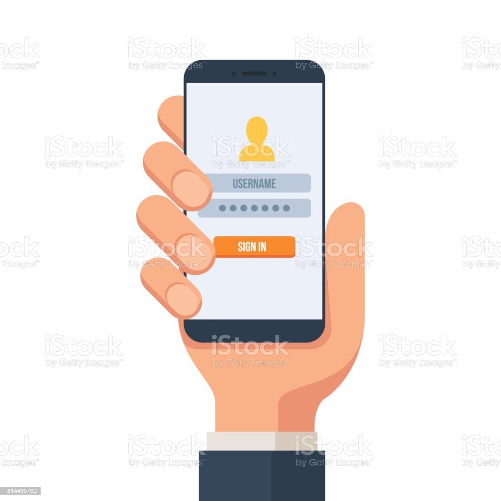 Login to the mobile account vector art illustration