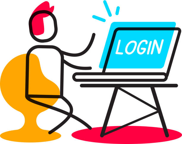 Login user authorization linear concept. Vector business illustration of man with laptop in the workplace. vector art illustration