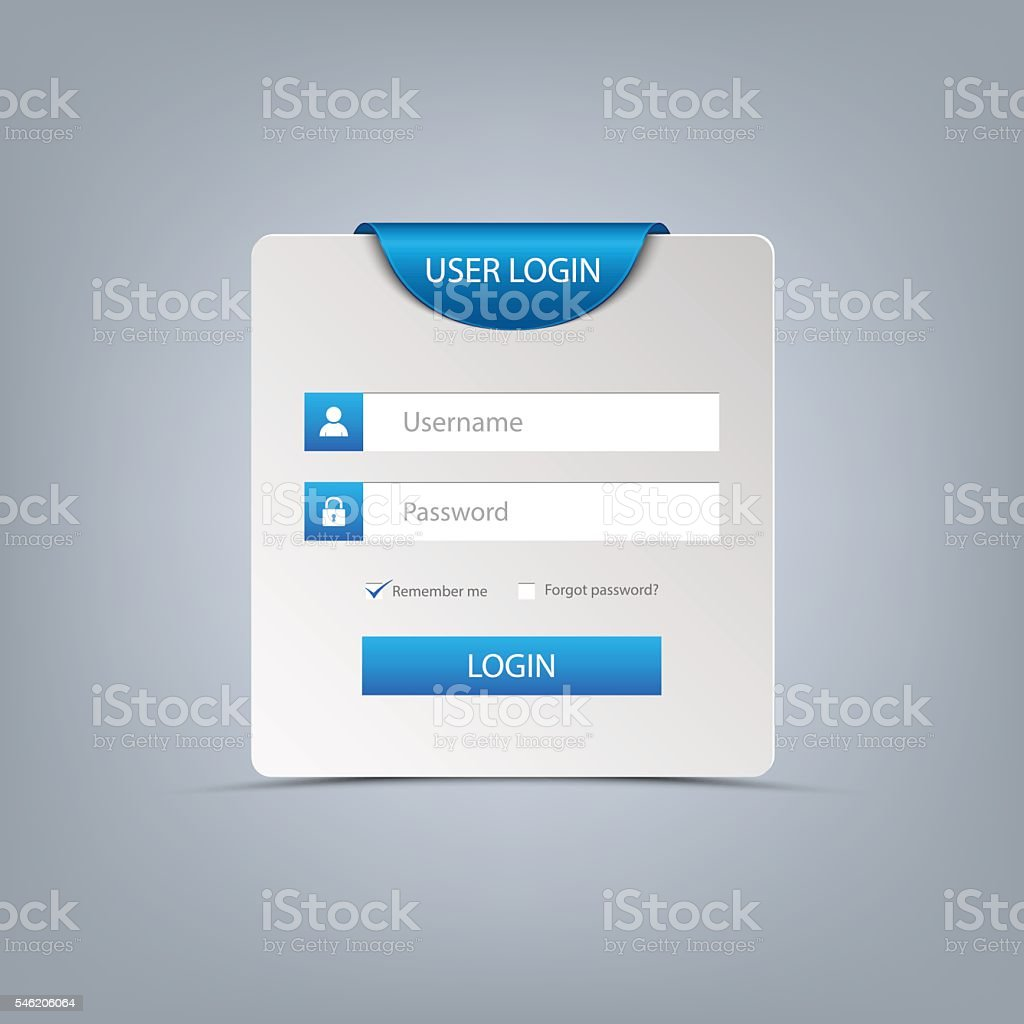 login web screen with blue bookmark template しおりのベクター