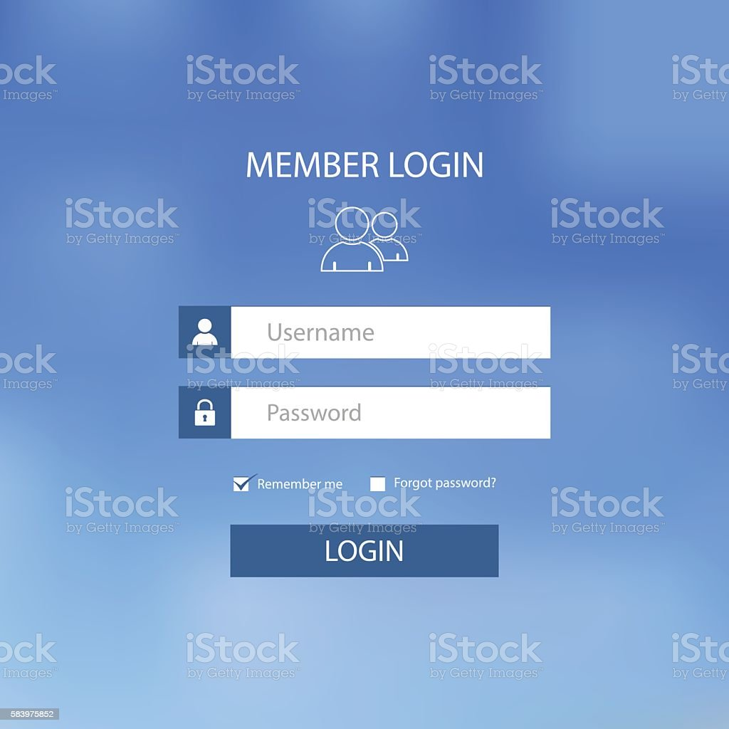 Login web screen with blue design template