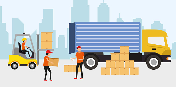 Logistic and delivery service concept. Idea of transportation and distribution. Transportation service. Partnership. Isolated flat illustration