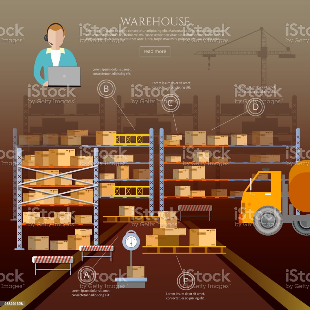 Logistic and delivery service infographic. Warehouse interior vector art illustration