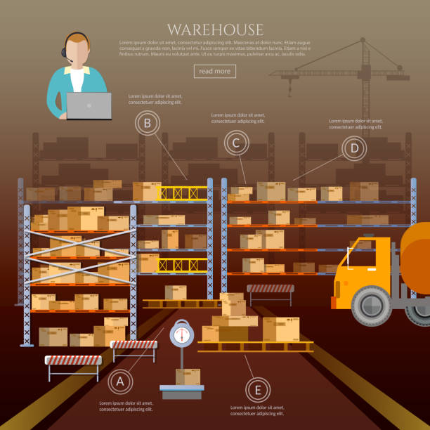 stockillustraties, clipart, cartoons en iconen met logistic and delivery service infographic. warehouse interior - warehouse worker