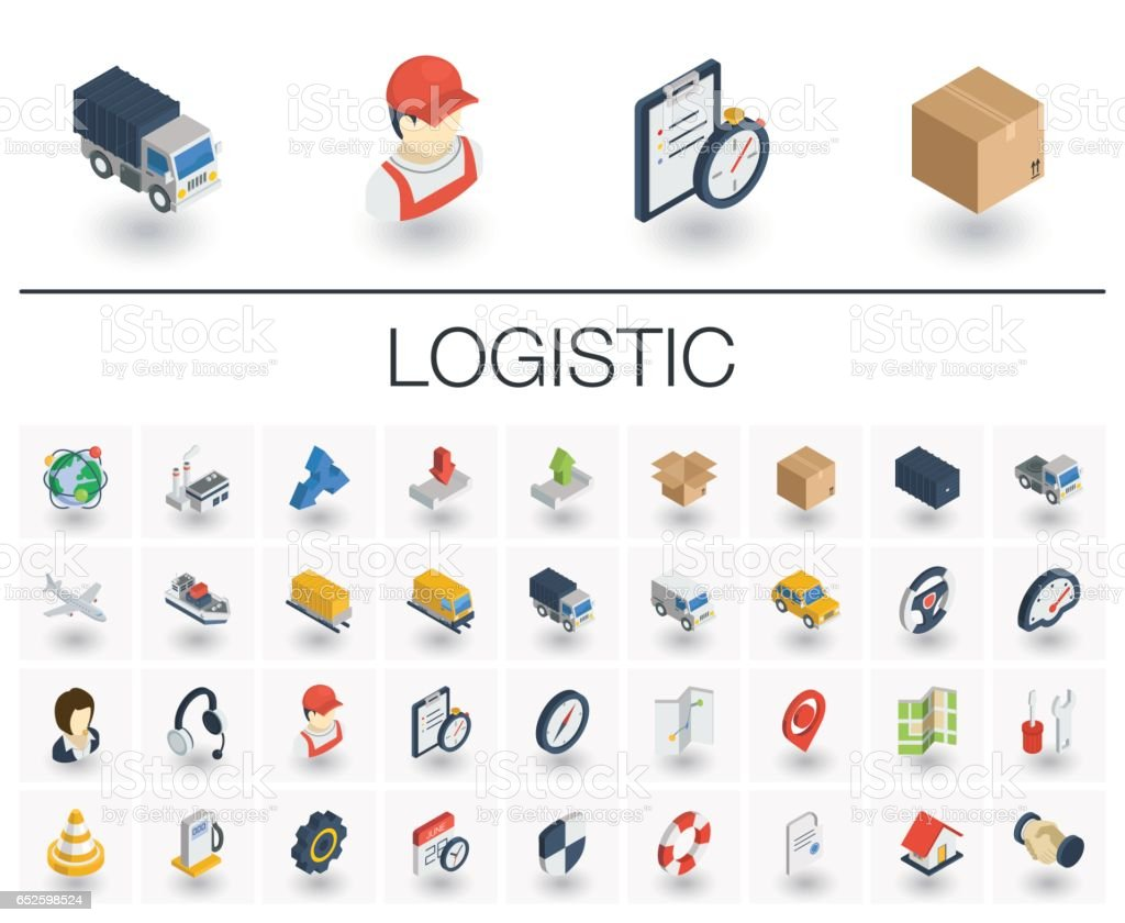 Logistic and distribution isometric icons. 3d vector vector art illustration