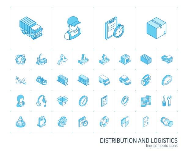 logistische und verteilung isometrische liniensymbole. 3d-vektor - isometric icons stock-grafiken, -clipart, -cartoons und -symbole