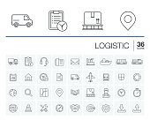 Logistic and distribution vector icons