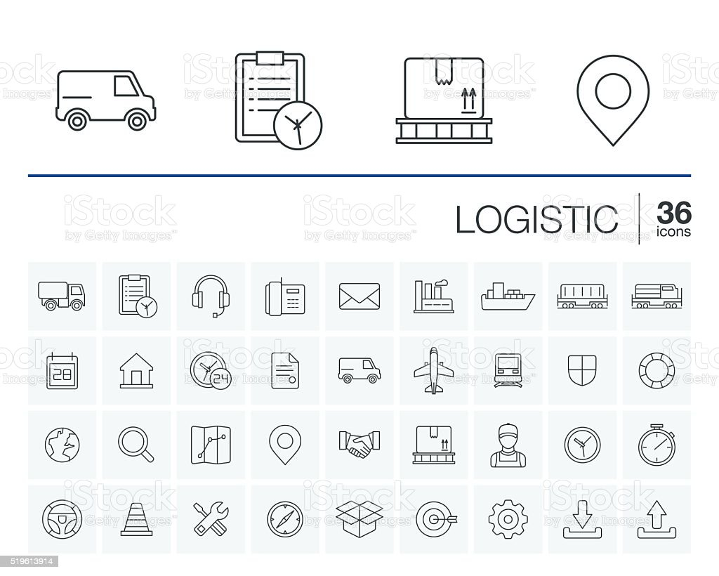 Logistic and distribution vector icons vector art illustration