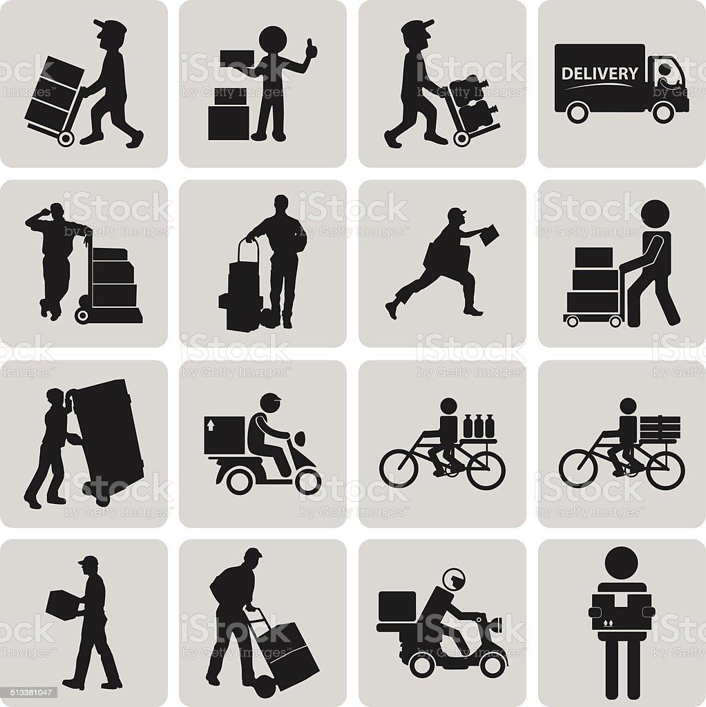 Logistik und Versand und Lieferung Mann Schwarze Symbole set2. – Vektorgrafik