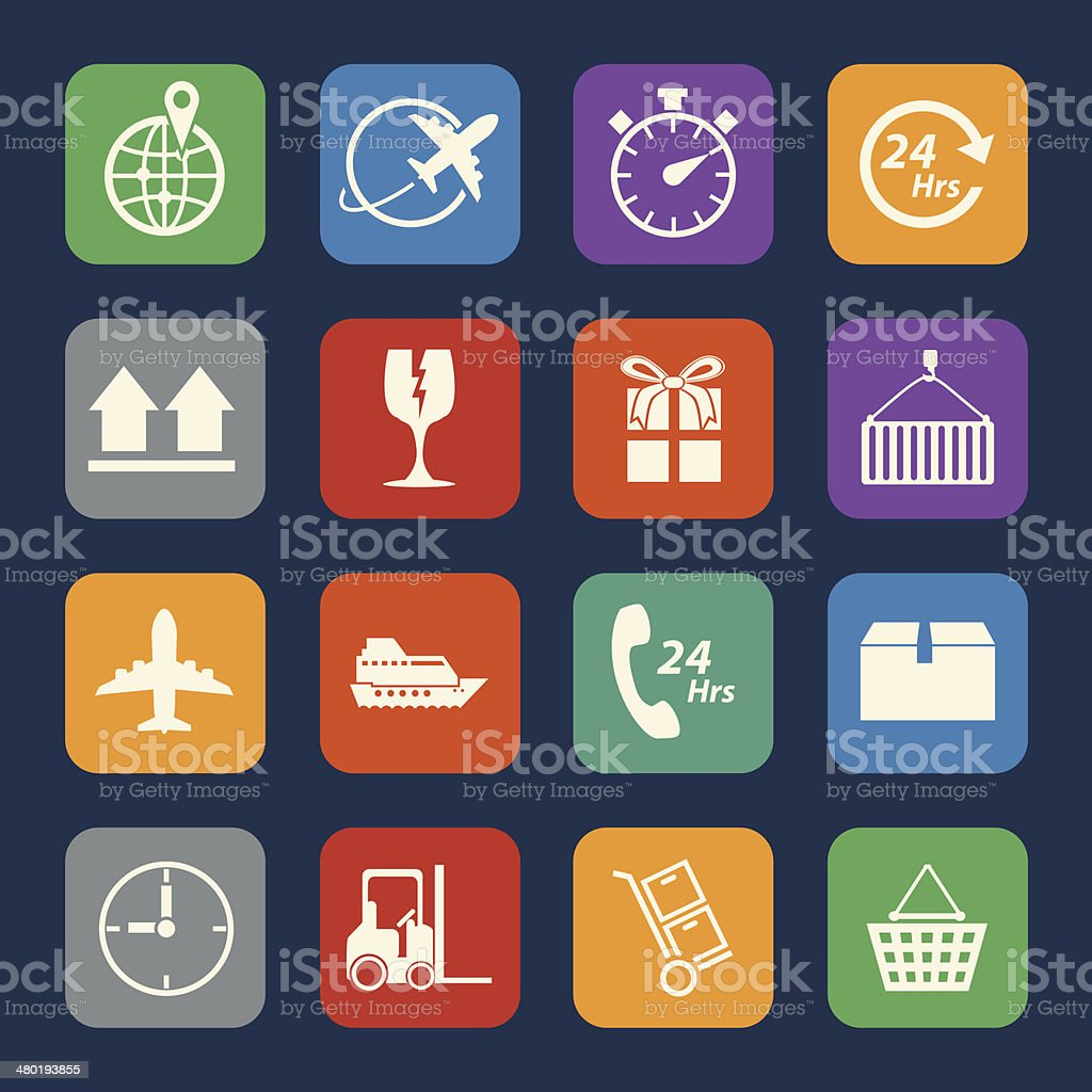 Logistic and shipping icons set. vector art illustration