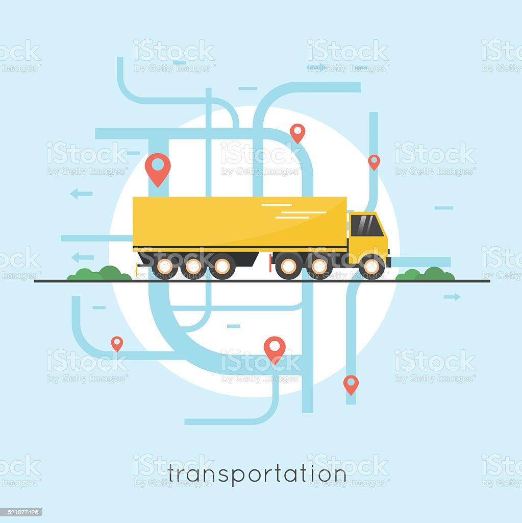 Logistik und Transport LKW transportiert Waren Strecke. – Vektorgrafik