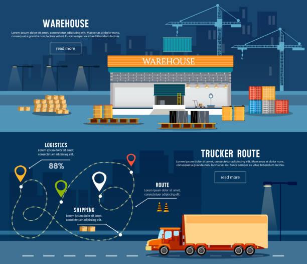 ilustraciones, imágenes clip art, dibujos animados e iconos de stock de logistic banner, delivery services, trucking industry - conductor de autobús