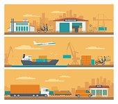 Logistic concept flat banner production process from factory to the shop. Warehouse, ship, truck and car. Wide panoramic vector illustration for business, info graphic, web, presentations, advertising.