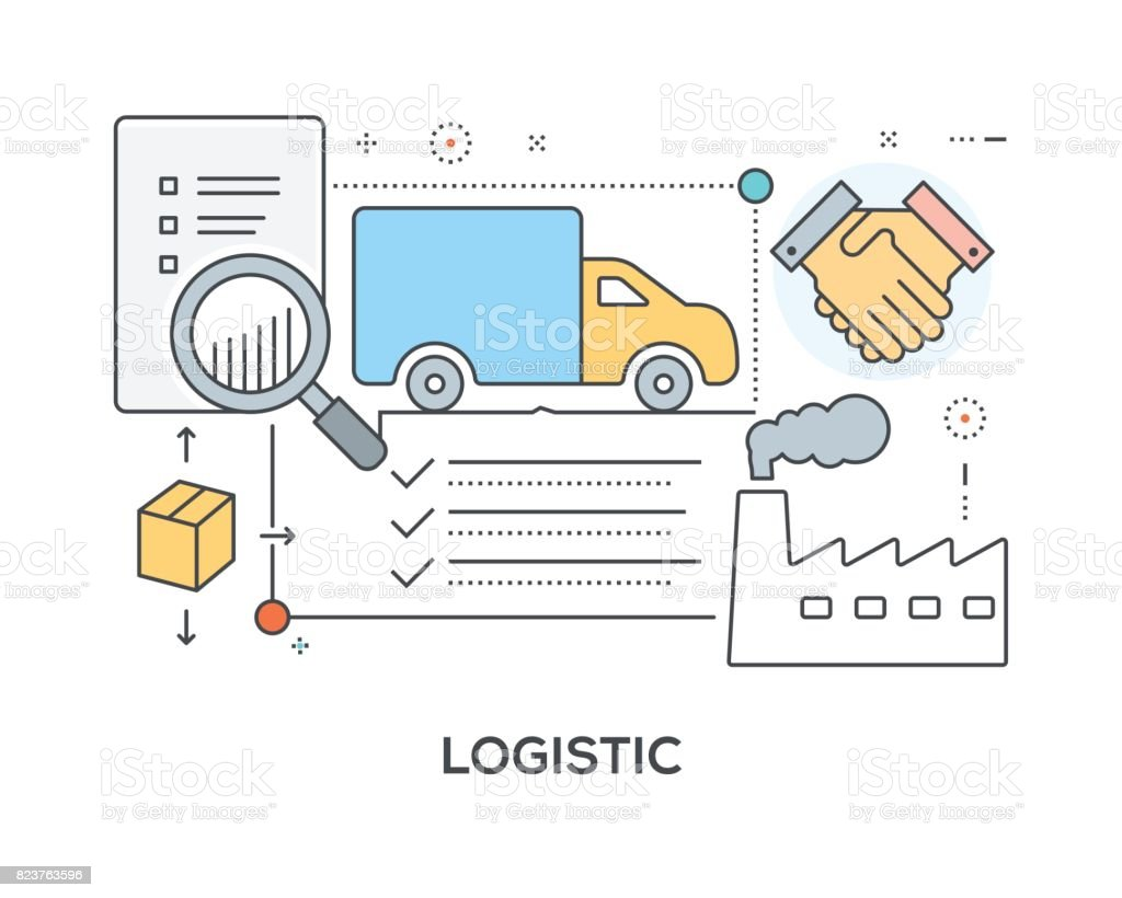 Logistic Concept with icons vector art illustration