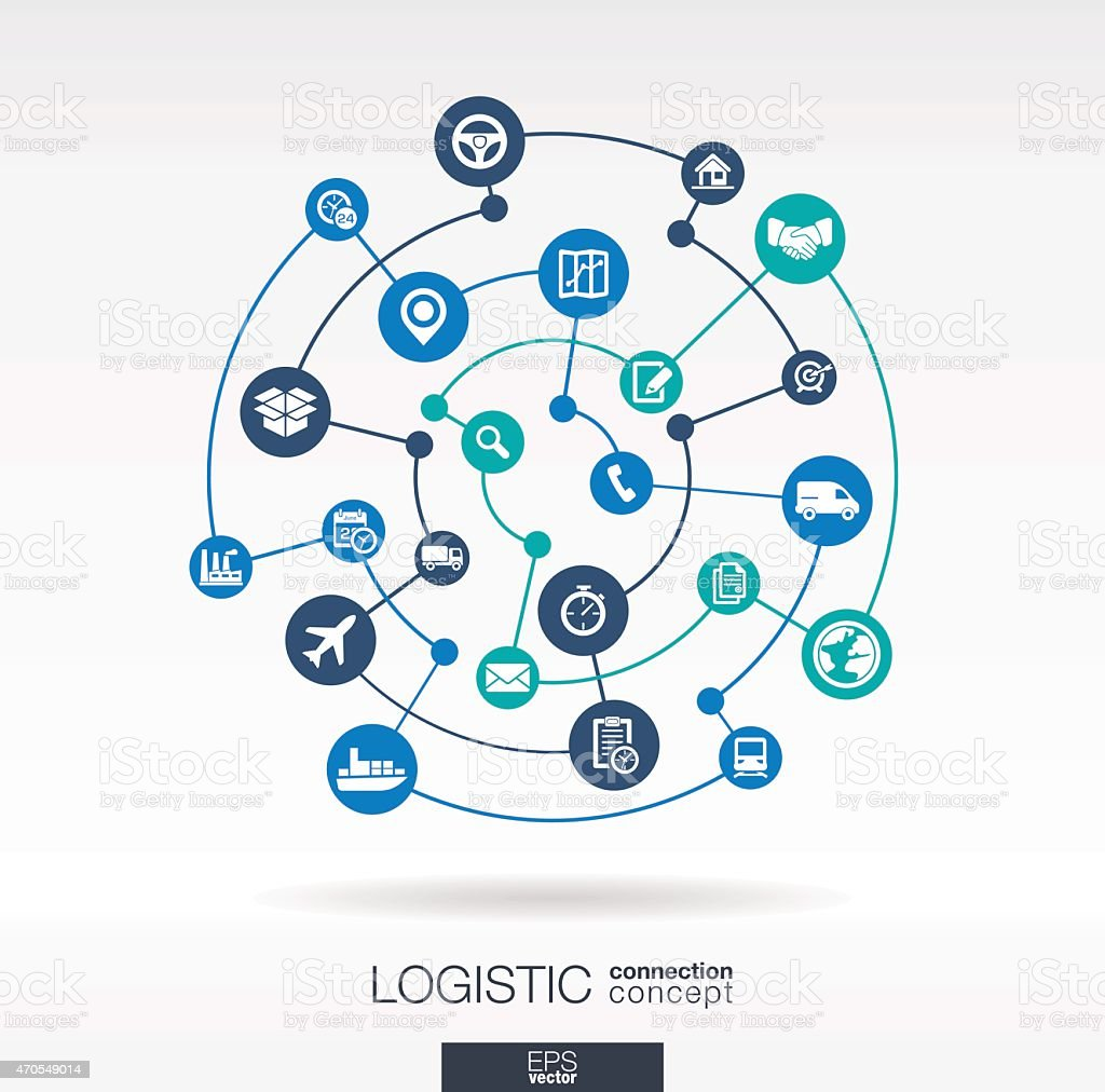 Logistic connection concept. Abstract delivery vector background: integrated circles, icons vector art illustration