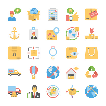 Logistic Delivery Flat Colored Icons Set 4
