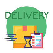 logistic delivery service with box and checklist vector illustration design