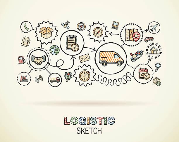 ilustraciones, imágenes clip art, dibujos animados e iconos de stock de logística extracción a mano doodle iconos conjunto integrado. vector boceto ilustración. - suministros escolares