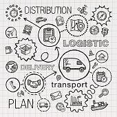 Logistic hand draw integrated icons set. Vector sketch infographic illustration with line connected doodle hatch pictograms on paper: distribution, shipping, transport, services, container concepts