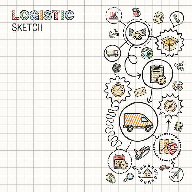 ilustraciones, imágenes clip art, dibujos animados e iconos de stock de logística de cierre integrado mano dibujo conjunto de iconos de vector en el papel. - suministros escolares