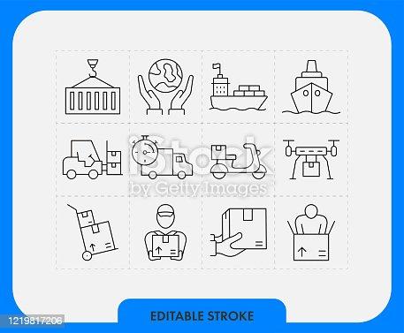 Logistic icon set. Editable Stroke