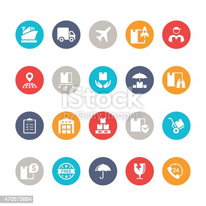 Set of  flat multicolor logistic vector icons.
