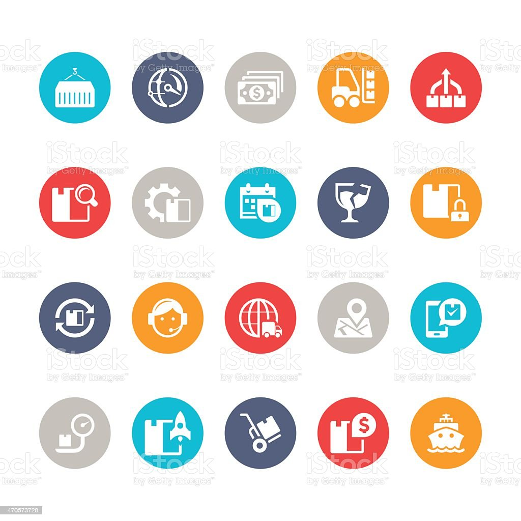 Logistic Icon Set | Multicolor circle series vector art illustration