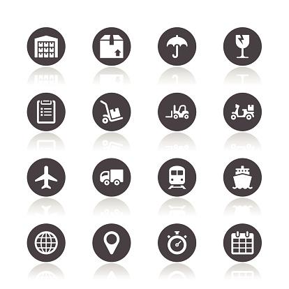 Ikony Logistyczne - Stockowe grafiki wektorowe i więcej obrazów Bez ludzi