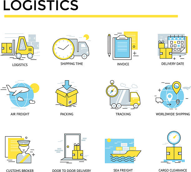 logistic icons logistic icons.Thin lines. Flat design customs official stock illustrations