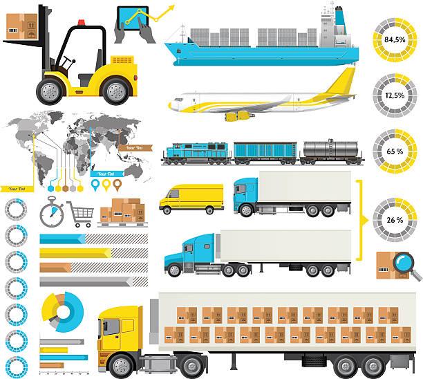Logistic Infographic vector art illustration