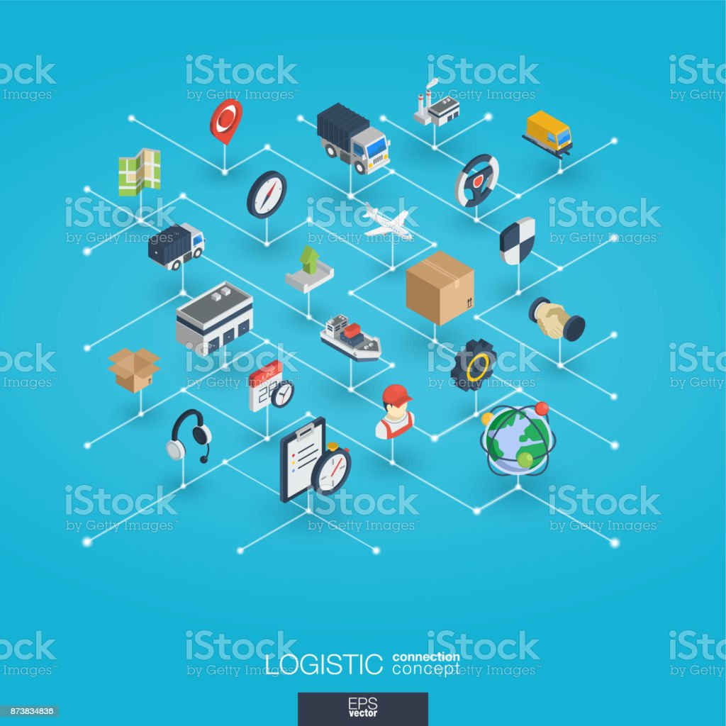 Logistic integrated 3d web icons. Digital network isometric concept. vector art illustration