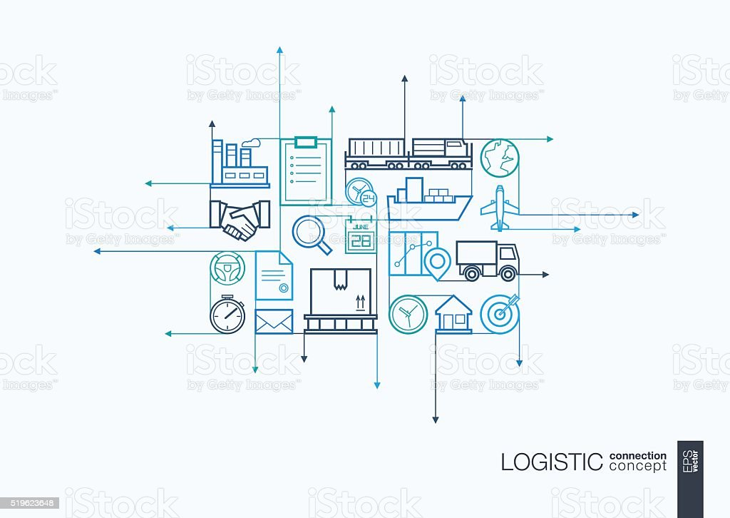 Logistic integrated thin line symbols vector art illustration