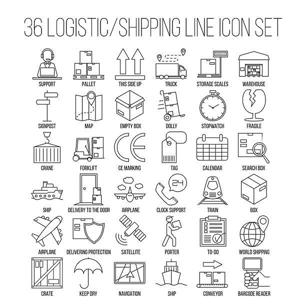 logistic line icon set - frachtpaletten stock-grafiken, -clipart, -cartoons und -symbole