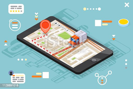 Logistic mobile delivery tracking app isometric 3d smartphone truck pin city street map flat design vector illustration