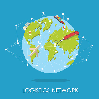 Logistic network isometric isllustration.Mini planet concept.