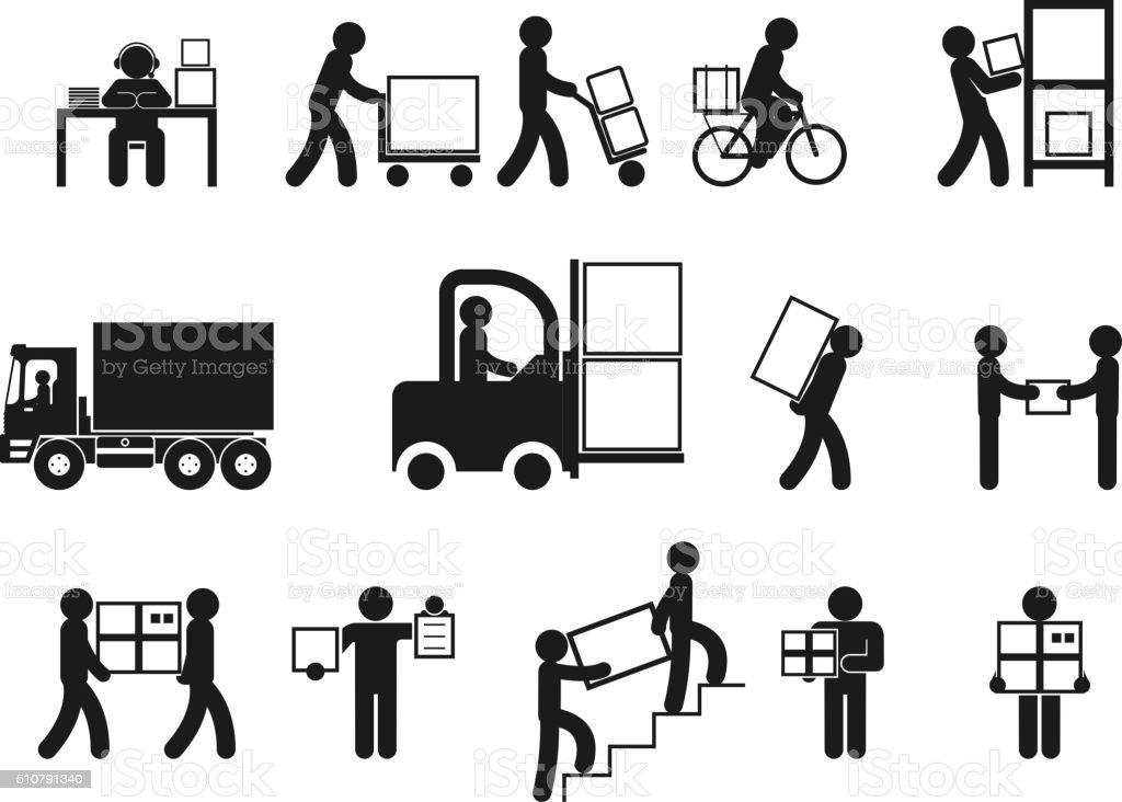 Pictogrammes Logistique personnes - Illustration vectorielle