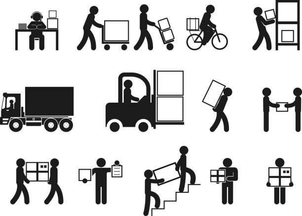 illustrazioni stock, clip art, cartoni animati e icone di tendenza di originariamente logistica persone - portare