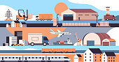 logistic transportation set trucks ship airplane train warehouse cargo symbols express delivery service concept horizontal vector illustration
