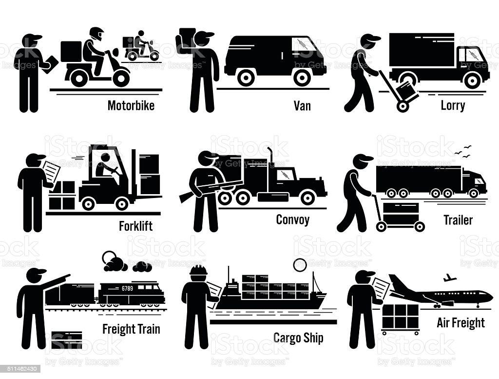 Logistic Transportation Vehicles Set vector art illustration