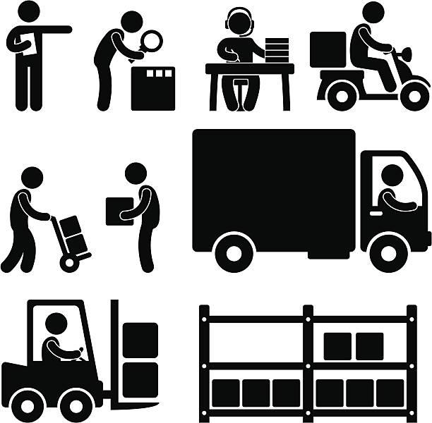 versand logistik warehouse pictogram - fahrzeug fahren stock-grafiken, -clipart, -cartoons und -symbole