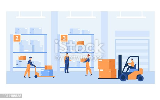 Logistic workers carrying boxes with loaders in warehouse. Couriers wheeling carts with cargo, riding forklift with packages among hangar shelves. For delivery service, stockroom, storage concept