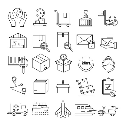 Logistic,Delivery symbol,Transportation line icon set