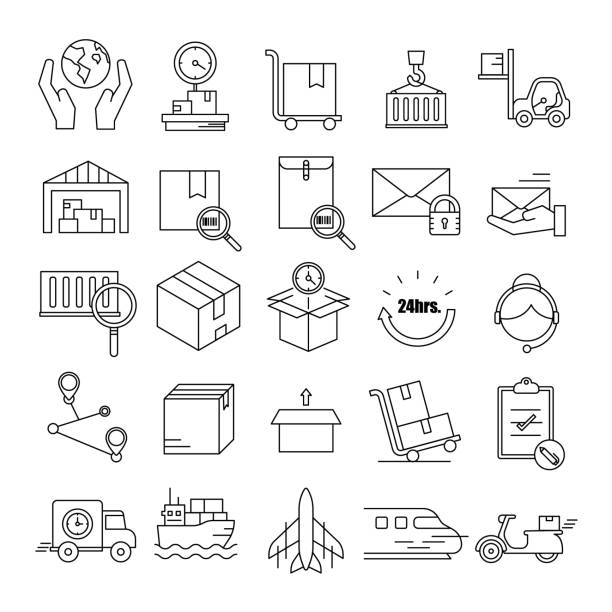 logistic,delivery symbol,transportation line icon set - waga opis fizyczny stock illustrations