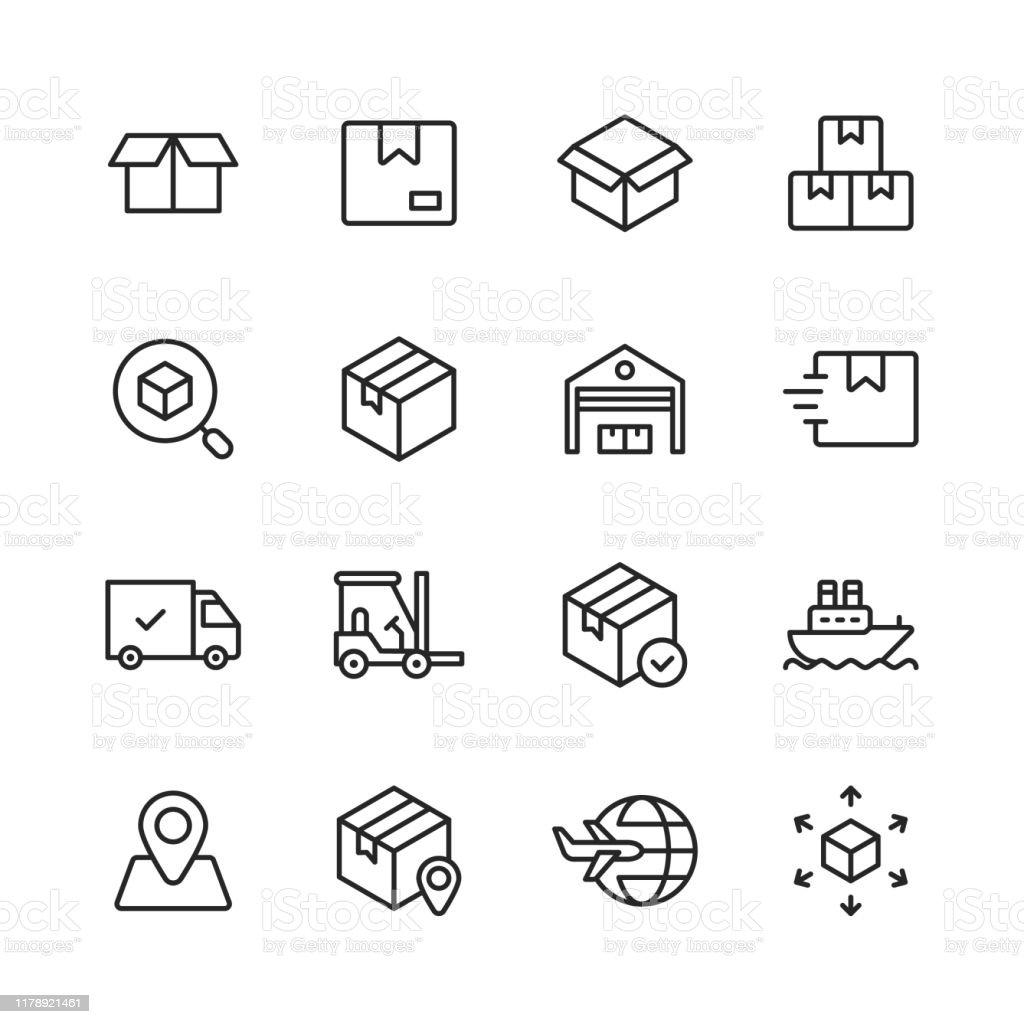 Logistik- und Lieferzeilensymbole. Bearbeitbarer Strich. Pixel perfekt. Für Mobile und Web. Enthält Symbole wie Lieferung, Versand, Box, Garage, Vertrieb, Yacht, Standortverfolgung, LKW. - Lizenzfrei Auslieferungslager Vektorgrafik