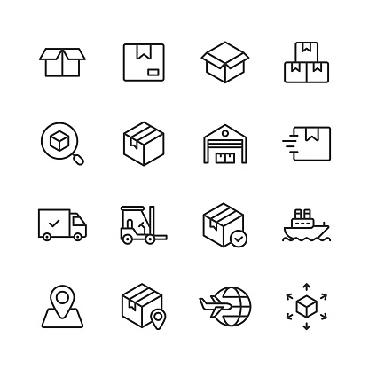 Logistics and Delivery Line Icons. Editable Stroke. Pixel Perfect. For Mobile and Web. Contains such icons as Delivery, Shipping, Box, Garage, Distribution, Yacht, Location Tracking, Truck.