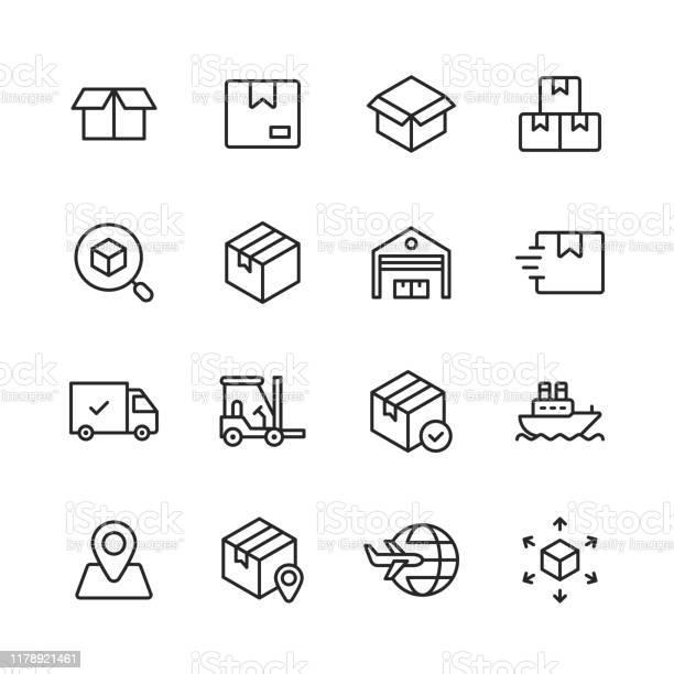 Logistik Und Lieferzeilensymbole Bearbeitbarer Strich Pixel Perfekt Für Mobile Und Web Enthält Symbole Wie Lieferung Versand Box Garage Vertrieb Yacht Standortverfolgung Lkw Stock Vektor Art und mehr Bilder von Auslieferungslager
