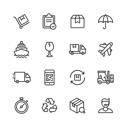 Logistics and Delivery Line Icons. Editable Stroke. Pixel Perfect. For Mobile and Web. Contains such icons as Shipping, Delivery, Box, Insurance, Ship, Airplane, Truck, Bar Code, Recycling, Support.