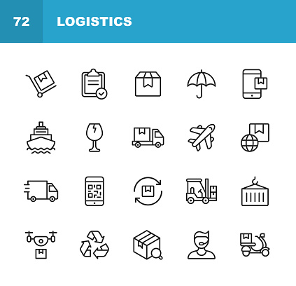 Logistics and Delivery Line Icons. Editable Stroke. Pixel Perfect. For Mobile and Web. Contains such icons as Shipping, Delivery, Box, Insurance, Ship, Airplane, Truck, Bar Code, Recycling, Support, Drone, Food Delivery.