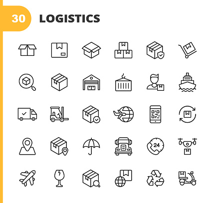 Logistics and Delivery Line Icons. Editable Stroke. Pixel Perfect. For Mobile and Web. Contains such icons as Shipping, Delivery, Box, Insurance, Ship, Airplane, Truck, Bar Code, Recycling, Support, Drone, Food Delivery, Warehouse, Distribution.