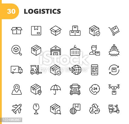 30 Logistics and Delivery Outline Icons. Package, Delivery, Shipment, Box, Insurance, Warehouse, Distribution, Search, Garage, Postman, Supplier,  Container, Freight, Courier, Last Mile Delivery, Bar Code, Recycling, Location, Truck, Drone, Plane, Glass, Food Delivery, Factory, Global Transport.